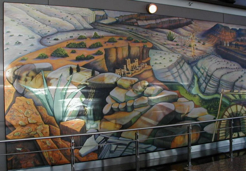 The strange murals at the denver new world airport the for Denver international airport mural